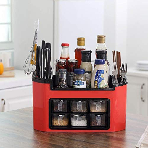 GBSELL Multi-Functional Kitchen Storage BoxCutlery Knife Chopping Board Kitchenware Overall Holder Counter OrganizerSpice Jars Sauce Condiment Pantry Red
