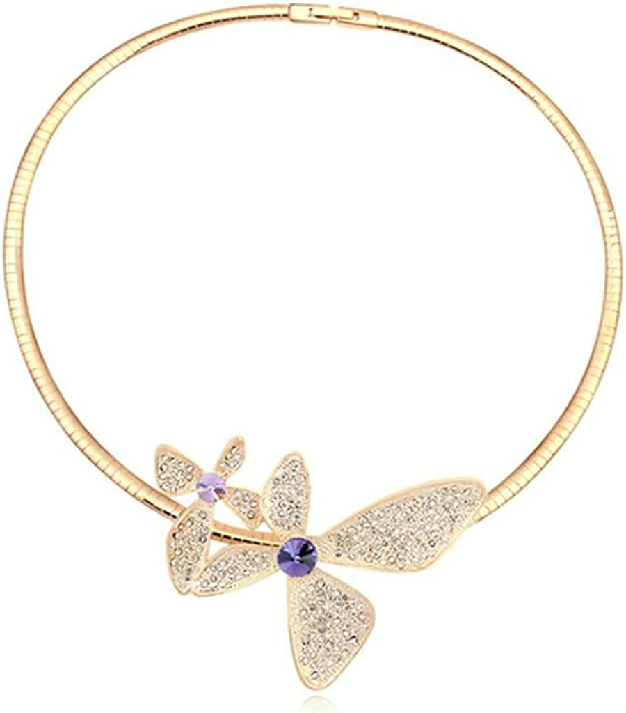 Daesar Gold Plated Womens Butterfly Necklace Rhinestone CZ Pendant Necklace for Women