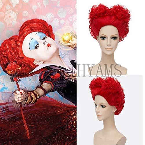 AHJSN Peluca de Halloween Alicia en el Pas de las Maravillas Reina Roja Cosplay Juego de roles Reina de Corazones Disfraz de Reina de Corazones de Pelo Rojo
