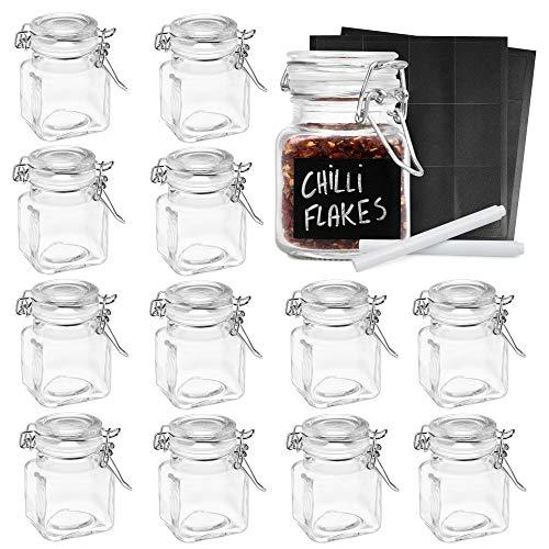 Oak & Steel 12 Mini Pots à Épices Verre avec Clip, 24 Étiquettes, Craies - 100ml