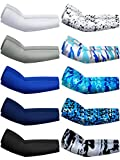 10 Pairs Sun Protection Arm Sleeves Cooling Sports Compression Athletic Sleeves for Basketball Running Cycling Golfing (Dark Color)