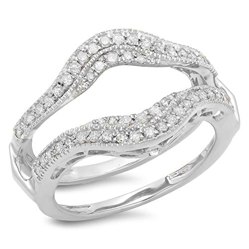 Dazzlingrock Collection 0.52 Carat (ctw) 14K White Diamond Ladies Wedding Enhancer Guard Ring 1/2 CT, White Gold, Size 7