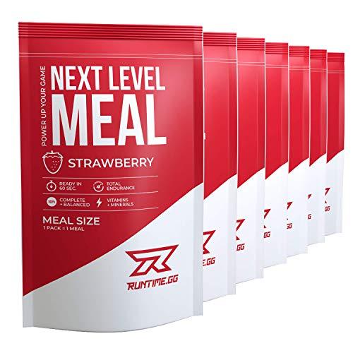 Runtime Next Level Meal Erdbeere - vollwertiger Mahlzeitersatz für langanhaltende Sättigung, Energie, Konzentration und Leistungsfähigkeit, mit Vitaminen und Nährstoffen, 7 x 150g