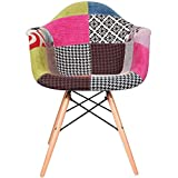 2xhome Upholstered Mid Century Modern Dining Arm Chair with Natural Wood Legs, Patchwork A Fabric