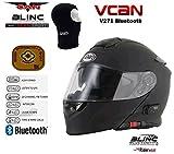 VCAN V271 BLINC - Casco de moto con Bluetooth para MP3, SAT, NAV, FM, intercomunicador modular, color negro mate con kit de cuidado y balaclava, Mujer Hombre, V271, negro, Small
