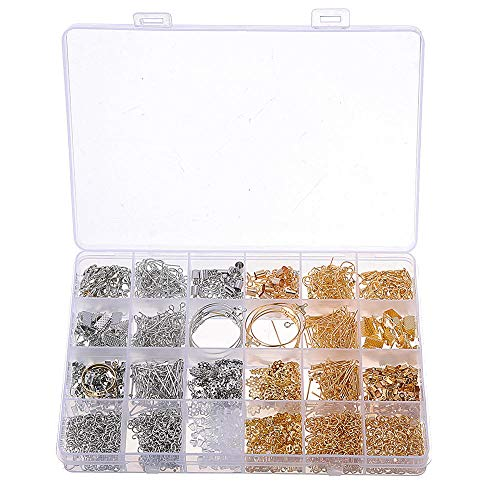 Guiping Decoration 1630Pcs/Set Eye Pins Lobster Clasps Jewelry Wire Earring Hooks Jewelry Finding Kit for DIY Necklace Jewelry Bracelet Making