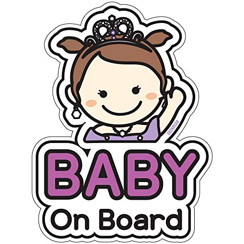 BSL Baby on Board Sticker and Decal (Princess) - Baby Bumper Car Sticker - Baby Window Car Sticker - Baby in Car Sticker - Cute Safety Caution Decal Sign for Cars