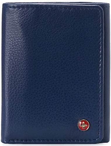 Alpine Swiss Mens Leon Trifold Wallet RFID Safe Genuine Leather Comes in a Gift Box Blue product image