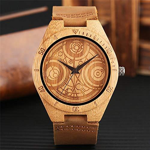 LCDIEB Elegante Orologio in Legno Unisex Delicato Dr. Who Mysterious Circle Carving Cinturino in Vera Pelle Moda Uomo Donna Orologio da Polso in bambù