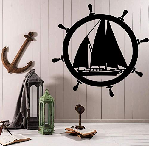 cooldeerydm Sea Design Muursticker Elementen van de zee Boot Decoratieve Stuurwiel Vinyl Muur Applique zee Muur Decoratie Art AY790