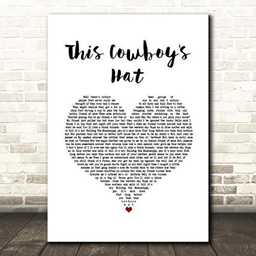 Deze Cowboy's hoed wit hart lied lyrische cadeau cadeau poster print Small A5