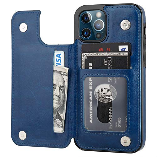 ONETOP Compatible with iPhone 12 Compatible with iPhone 12 Pro Wallet Case with Card Holder, PU Leather Kickstand Card Slots Case, Double Magnetic Clasp Durable Shockproof Cover 6.1 Inch(Blue)