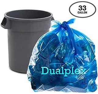 Dualplex Blue Recycling Trash Bags, 33 Gal, 100/case, 1.2 Mil Garbage Bag 33