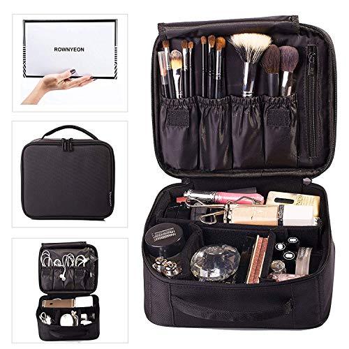 ROWNYEON Make-up Tasche Kosmetiktasche Make-up Reisetasche Make-up Artist Organizer Tragbare Aufbewahrungstasche Multifunktionstasche Geschenk für Mädchen Frauen (Schwarz)