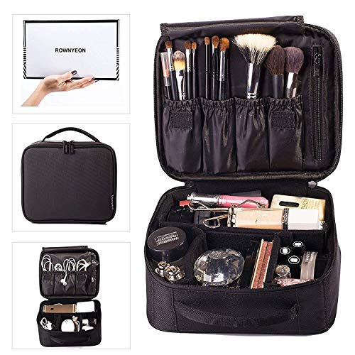 ROWNYEON Makeup Train Case Cosmetic Case Travel Makeup Bag Organizer Mini Train Case Makeup Artist Organizer Portable Storage Bag Multifunction Bag Gift for Girls Women 9.8'' Mini Black