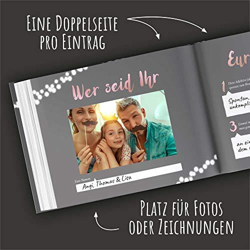 Gästebuch mit Fragen | grau, roségold - 3