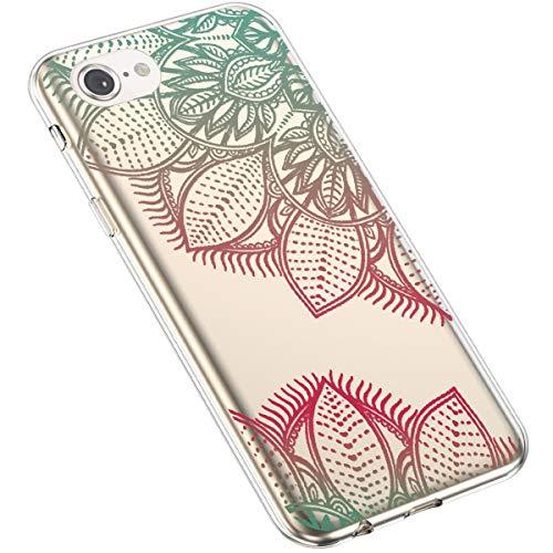 Uposao Kompatibel mit iPhone 7 / iPhone 8 4.7 Handyhülle Transparent mit Muster Motiv TPU Silikon Schutzhülle Case Crystal Clear Handytasche Dünn Stoßfest Bumper Backcover,Grün Rot Sonnenblume