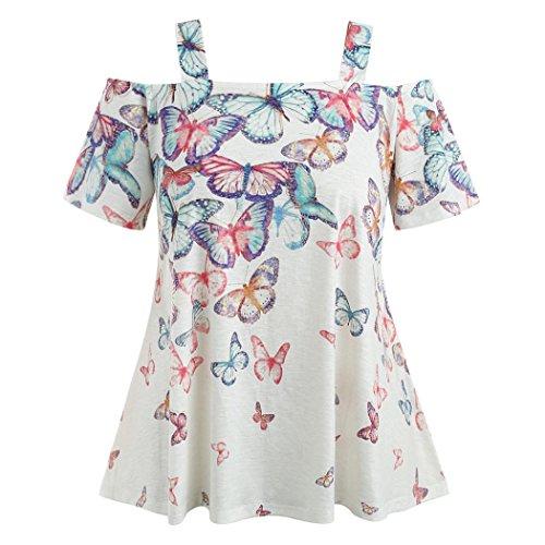 OYSOHE Neueste Frauen Schulterfrei Plus Größe Drucken Schmetterling T-Shirt Tops Bluse(Weiß,XL)