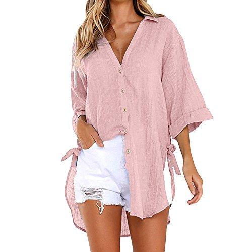 Xmiral T-Shirt Tops Damen Lange Knopf Shirt Einfarbig Lose Wilde Bluse Große Größe Elegant Hemden Kleid Urlaub 3/4 Kurzarmshirt(Rosa,XL)