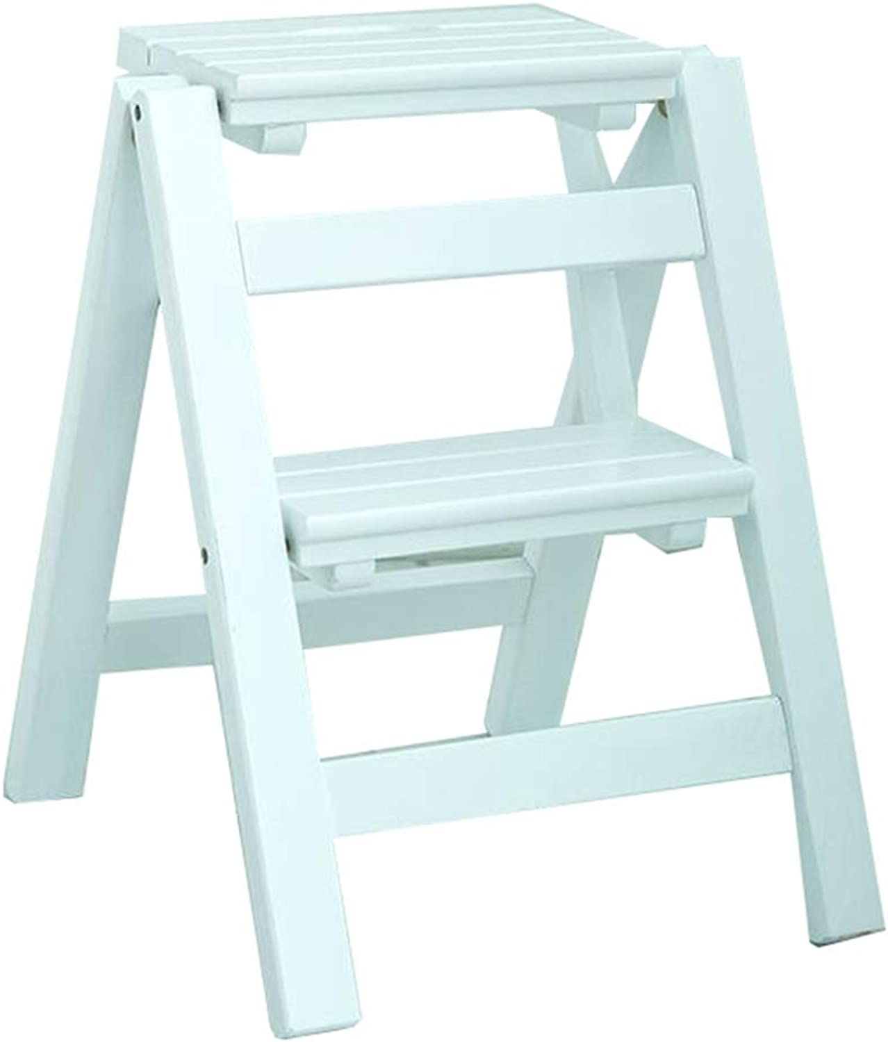Portable Ladder Stool 2-Step Stools Easy to Store Foldable Design Ideal for Home Kitchen Garage (38 × 46 × 50 cm) (color   White)