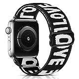 SHUYO Correa de reloj elástica compatible con Apple Watch Strap 38 mm, 42 mm, 40 mm, 44 mm, iwatch Series 5/4/3/2/1, suave tela elástica de algodón, correa de repuesto para mujeres y hombres