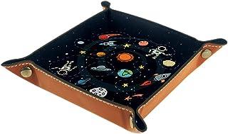 BestIdeas Panier de rangement carré 20,5 x 20,5 cm avec piste d'astronaute de dessin animé, boîte de rangement sur table p...