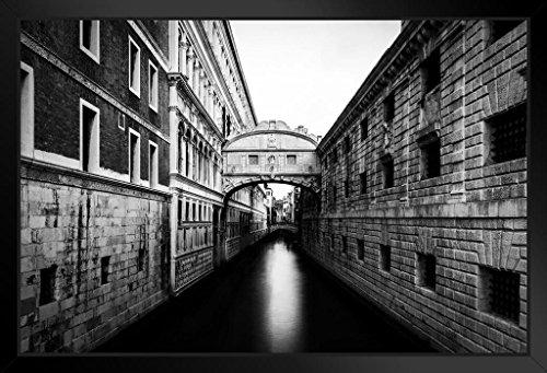 Bridge of Sighs Venice Italy Black and White B&W Photo Art Print Framed Poster 18x12 by ProFrames