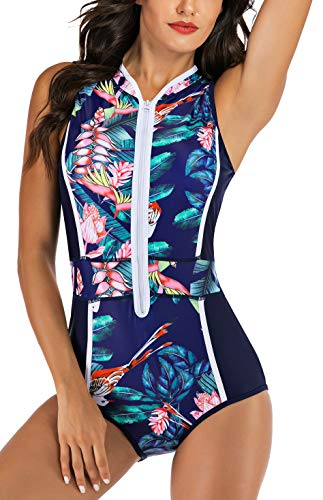 LafyKoly Women's One Piece Sleeveless Swimsuit Athletic Printed Zipper Surfing Monokini Swimwear Bathing Suit (L, Navy Blue&Forest)