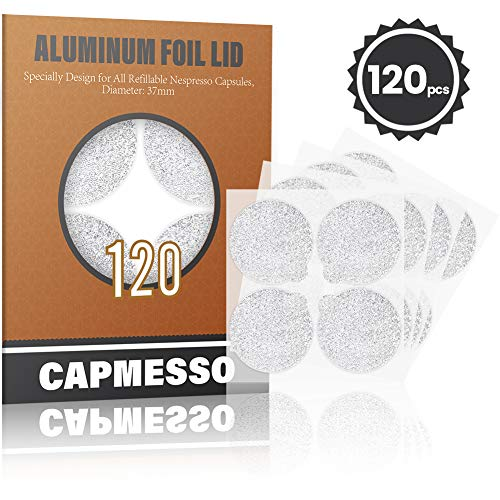 CAPMESSO Foglio di Alluminio Autoadesivo Coperchi per riutilizzare Le Capsule di caffè Espresso compatibili con Nespresso 120 / Pacchetto