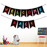 Welcome Back Banner for Classroom Decorations, Welcome Bulletin Board Banner Welcome Chalkboard Brights Pennants for Back to School Teacher Supply