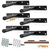 BATODA - 8' Heavy Duty Floating Shelf Bracket (6 pcs) – Solid Steel Blind Shelf Supports - Hidden Brackets for Floating Wood Shelves - Screws and Wall Plugs Included (Large Size)