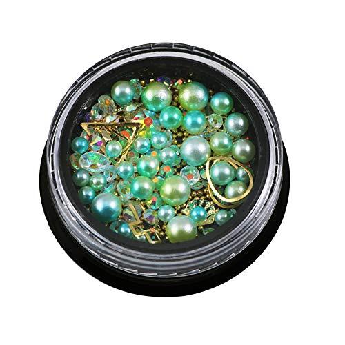 Gespout Nail Art Autocollant Deco Nail Art Lot Stickers Pour Ongles Perles et Patchs Nail Outils Artistiques Plusieurs Styles (Vert)