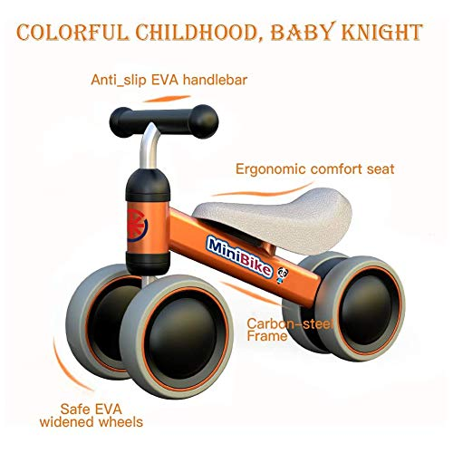 XIAPIA Baby Balance Bikes Bicycle Children Walker for 10 - 24 Month, Ride On Toys for 1 Year Old Boys Girls, No Pedal Infant 4 Wheels, Toddler Top First Birthday Gift (Orange)