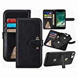 iPhone 8Plus/7Plus Wallet Case,6SPlus/6PLus leather Purse Hynice Magnetic Detachable Shockproof Cover With Kickstand Strap 6 Card Holder Slots for iPhone8PLus/7Plus/6SPlus/6Plus 5.5 (6 Card-Black)