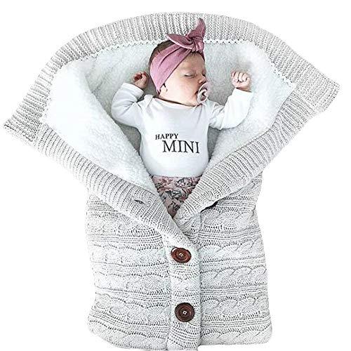 Baby Button-down Strickwolle Swaddle Decke Pucksack Kleinkind Schlummersäcke Kinderwagen Babydecken Schlafen Sack für 0-12 Monat Säugling Pyjamas Sicherheitsdecken (Grau)