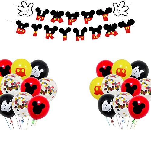 WENTS Decoraciones de cumpleaños de Mickey Mouse Artículos de Fiesta de Mickey y Minnie Banner de Feliz cumpleaños Globos de Lunares para Decoraciones de Fiesta temáticas de Minnie