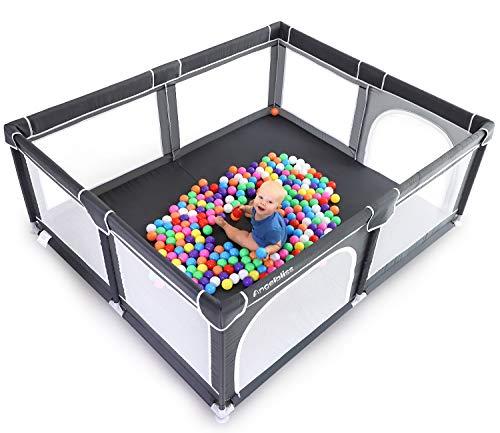 ANGELBLISS Parque de juegos para bebés, centro de actividades para niños en interiores y exteriores con base antideslizante, patio de juegos de seguridad resistente con malla transpirable súper suave