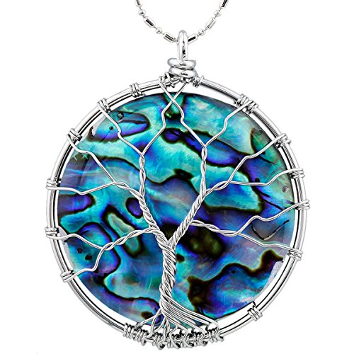 SUNYIK Round Abalone Shell Tree of Life Pendant,Necklaces for Women,Handmade Reiki Healing Crystal