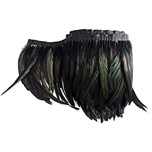 TOOKY 1 Meter(40'')Length of black feather boa DIY as wrap cape shawl poncho skirt stole