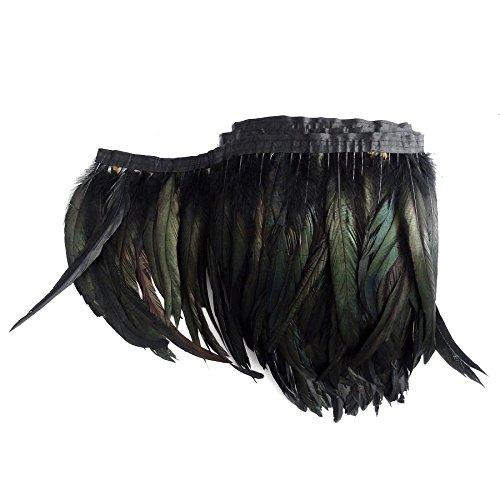 keland 1 metro (40 '') de longitud con plumas de pitón envuelto en pitón, falda de poncho, chal, bufanda de encogimiento (Negro)