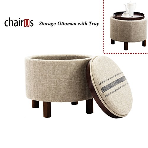 chairus-Round-Storage-Ottoman-with-Tray-Small-Footrest-with-Blue-Striped-Lid-Wood-Legs-Beige