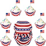 Cowwell 200 Pieces Independence Day Cupcake Liners and Picks 4th of July Cupcake Wrappers American Flag Toothpicks Red White Blue Star Cupcake Liners Patriotic USA Flag Cupcake Topper for Party Decor