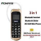 Romar VOICE CHANGER 3in1 Les plus petits du monde plus minces téléphone mobile Bluetooth Dialer Casque Bluetooth Micro Carte SIM LONG-CZ J8 18Gram (L'or Noir)
