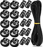 20pcs Plastic Cord Locks with 1/8-Inch 32.8ft Elastic Cord Heavy Stretch Round String, DaKuan 10 PCS Sing-Hole, 10 PCS Double-Hole , for Shoelaces, Clothing, Backpack, Bags
