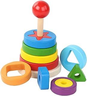 NC Baby Stacking Rings Toys Building Geometric Stacker Sensory Educational Developmental Toys for Kids - B