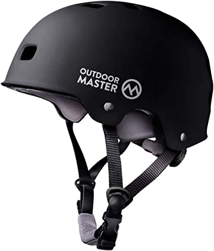 OutdoorMaster Skateboard Cycling Helmet - ASTM & CPSC Certified Two Removable Liners Ventilation Multi-Sport Scooter ...