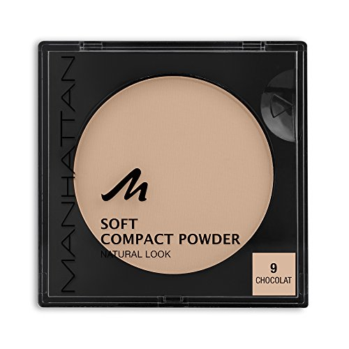 Manhattan Soft Compact Powder, Helles Kompakt Puder mit Puderquaste für einen matten, ebenmäßigen Teint, Farbe Chocolat 9, 1 x 9g