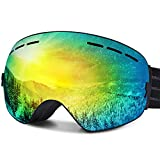 Ski Goggles, FYLINA OTG Snowboard Goggles with Anti-Fog, UV400 Protection Helmet Compatible Snow Goggles Detachable Dual Lens for Men Women and Youth