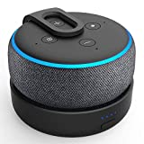 Batterien Akku für Dot 3. Generation & Intelligente Lautsprecher - Tragbares drahtloses Ladegerät Dot-Zubehör mit 8 Stunden Spielzeit, schwarz (Dot Nicht enthalten) (Schwarz)
