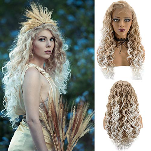 Ebingoo Long Blonde Wig for Women Blonde Lace Front Wig Long Curly Blonde Synthetic Wig Widow Peak Caramel Hair Wig for Black Women Girls Daily Wear